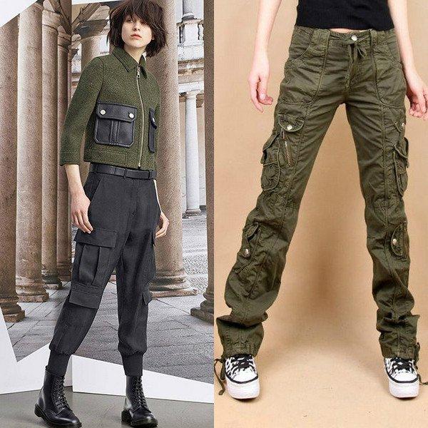 С чем надевать брюки в стиле карго с большими карманами