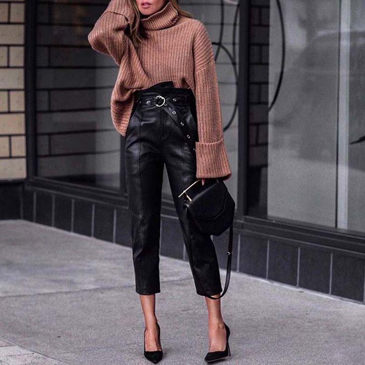 С чем и какие кожаные вещи можно носить женщине от 45 лет, чтобы не выглядеть вульгарно
